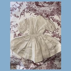 Old Plaid Pleated Bodice Cabinet Size Doll Dress