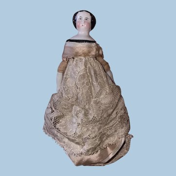 "Antique German Mid 19th Century Beautiful 6"" China Head Doll"