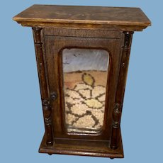 Antique Wooden Dollhouse German Armoire Mirrored Cabinet