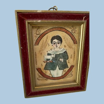 Old Victorian Type Charming Portrait Miniature Watercolor