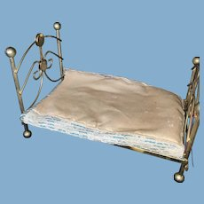 Old Metal Victorian Style Dollhouse Brass Bed