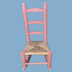 Antique Wooden German Pink Painted Dollhouse Rocking Chair With Caned Chair
