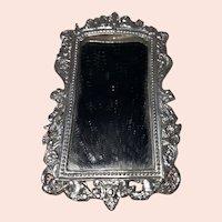 Antique German Filigree Silver Pressed Metal Dollhouse 19th Century  Victorian Style Fancy Mirror