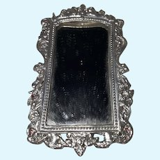 Antique German Filigree Silver Pressed Metal Dollhouse 19th Century  Victorian Style Fancy Mirror