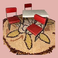 Vintage Old Steel Tube Wooden Dollhouse Chairs And Table