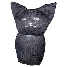 American Folk Art Stitched Face Miniature Sock Black Cat