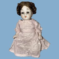Antique German All Bisque Glass Eyed Chubby Dollhouse Doll