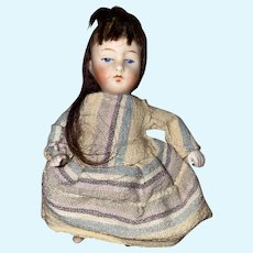 Antique German All Bisque Jointed Dollhouse Doll