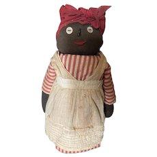 Antique Folk Art Black Americana Straw Stuffed Stump Doll