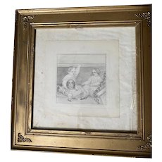 Antique Victorian Pencil Sketch Portrait Children Dog Framed Drawing