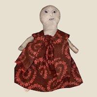 """Antique American Folk Art Stitched Face 9"""" Cloth Rag Doll"""