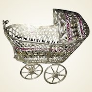 German Soft Metal Dollhouse Miniature Doll Carriage