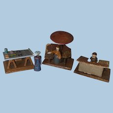 Antique German Erzgebirge Miniature Wooden Peddler Market Accessories