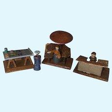 Antique German Erzgebirge Miniature Wooden Peddler Market Accessories