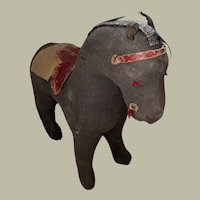 Antique Rare Cloth Early Pa Straw Stuffed Cloth American Folk Art Horse Doll