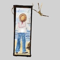 American Folk Art Contemporary Miniature Signed Watercolor