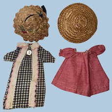 Antique Miniature Doll Mignonette 4 Piece Outfit Ensemble