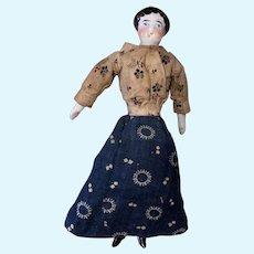 Antique German Miniature Dollhouse 19th Century China Head Doll