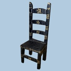 Old Painted Dollhouse Miniature Ladder back Chair