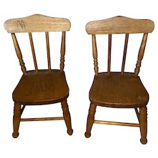 Antique Miniature Doll Size Wooden Windsor Doll Chairs