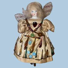 Antique German Bisque Shoulder Head Dollhouse Fairy Doll