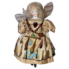 Antique German Bisque Shoulder Head Dollhouse Fairy Doll