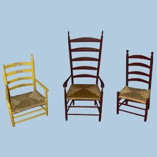 Set Of Three Rush Seat Shaker Style Ladder Back Dollhouse Chairs