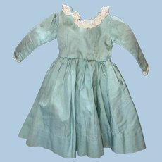 Old Hand Sewn Pleated Bodice Mint Green Victorian Style Doll Dress