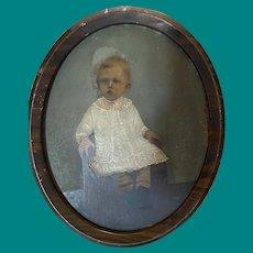 Antique Victorian 19th Century Hand Colored Photograph Portrait Child Striped Socks