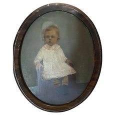 Antique Victorian 19th Century Hand Colored Photograph Portrait Child Striped Socks