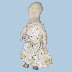 Antique American Folk Art Pencil Face Cloth Rag Doll