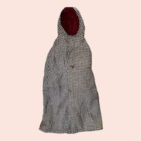 Antique 19th Century Houndstooth Doll Cape
