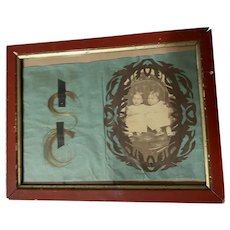 Antique Victorian Hair Scherenschnitte Twin Love Tribute Photograph