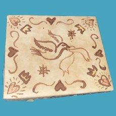 Antique Early Folk Art Friendship Ink Decorated Friendship Presentation Box