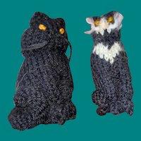 Old Crotchet knit Pair Of Hand Made Folk Art Kitties