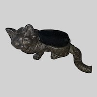 Antique Victorian Cast Metal Kitty Figural Sewing Pin Cushion