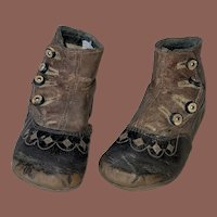 Antique Victorian Two Tone Shoe Button Childs Booties