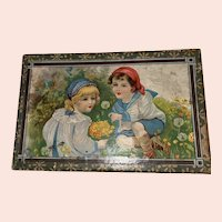 Antique German Lithograph Victorian Puzzle Blocks Child's Toy