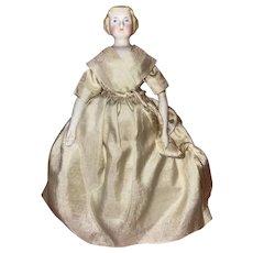Antique German Parian Bisque Shoulder Head Dollhouse Doll