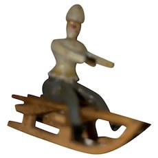 Rare Antique Early Erzgebirge Figurine Sledder