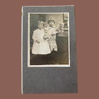 Antique Cabinet Card Photograph Two Sisters And Twin Dogs Puppies