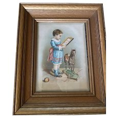 Antique Victorian Lithograph Book Plate Framed Image