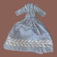 Antique Blue Gingham 19th Century Hand Sewn Homespun Doll Dress