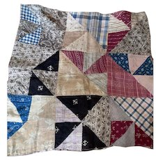 Antique Early 19th Century Triangle Calico Sampler Doll Quilt