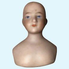 Antique Rare German Shoulder Head Bisque Dollhouse Doll Solid Head