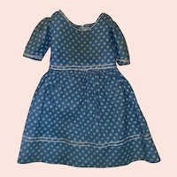 Antique Calico 19th Century Button Back Doll Dress