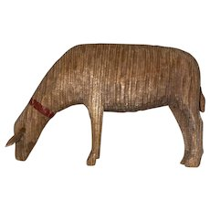 Antique German Wooden Hand Carved Sheep