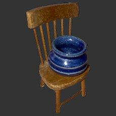 Miniature Dollhouse Blue Glazed Stonware Crock