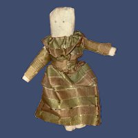 Antique American Folk Art Rolled Cloth Doll