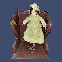 "Antique Miniature Shoulder Head 3-1/4"" Dollhouse Doll"